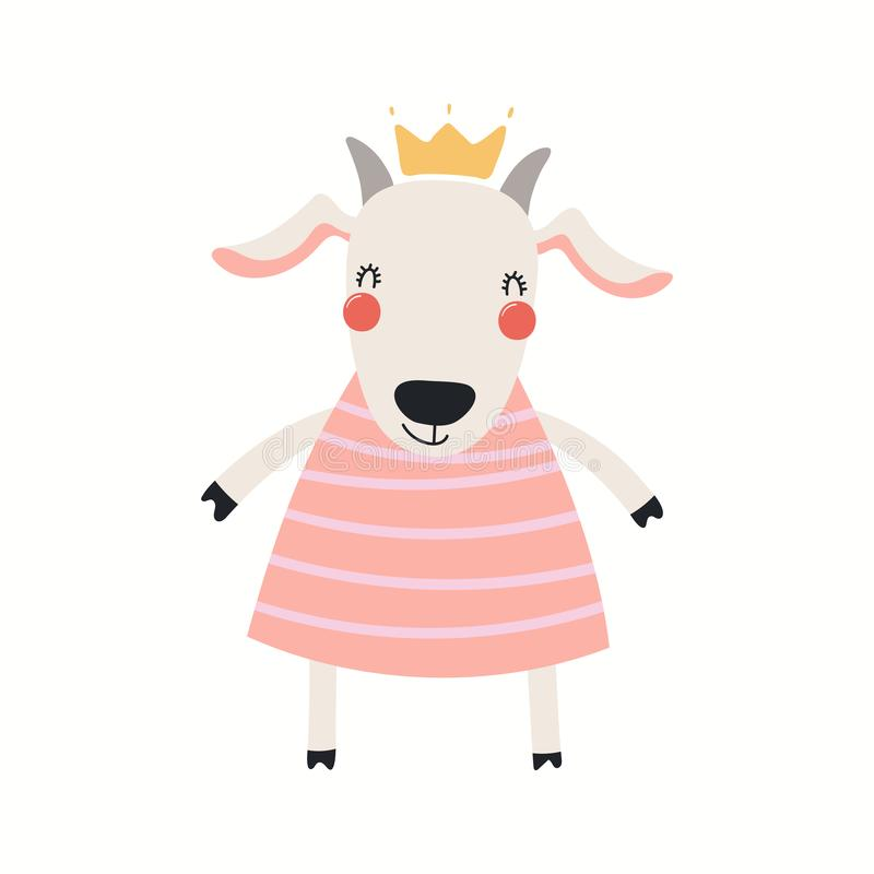 Princesse mignonne de chèvre illustration stock