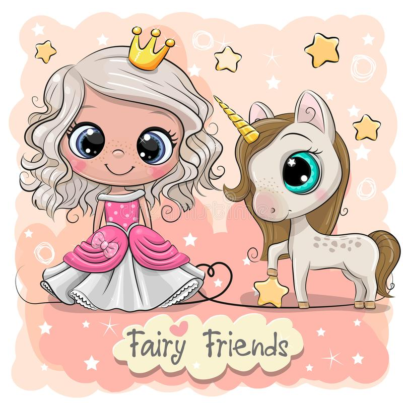 Princesse mignonne et licorne de conte de f?es de bande dessin?e illustration de vecteur