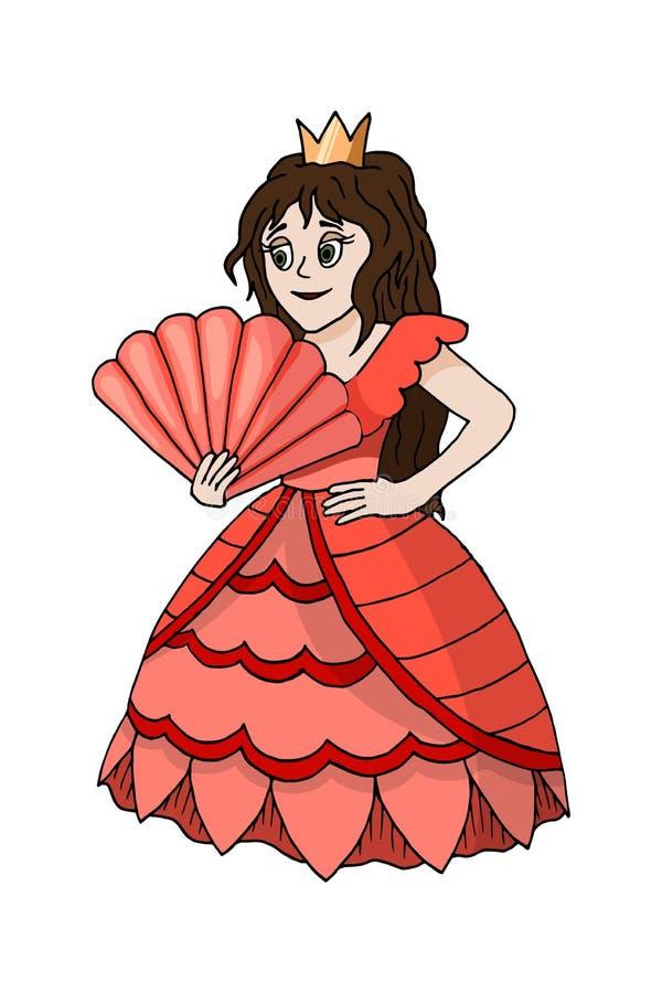 Princesse mignonne Standing de bande dessinée dans Coral Dress Costume Isolated rose illustration de vecteur