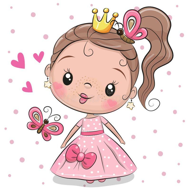 Princesse mignonne sur un fond blanc illustration de vecteur