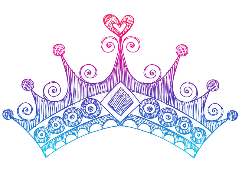 Princesse peu précise Tiara Crown Notebook Doodles illustration de vecteur