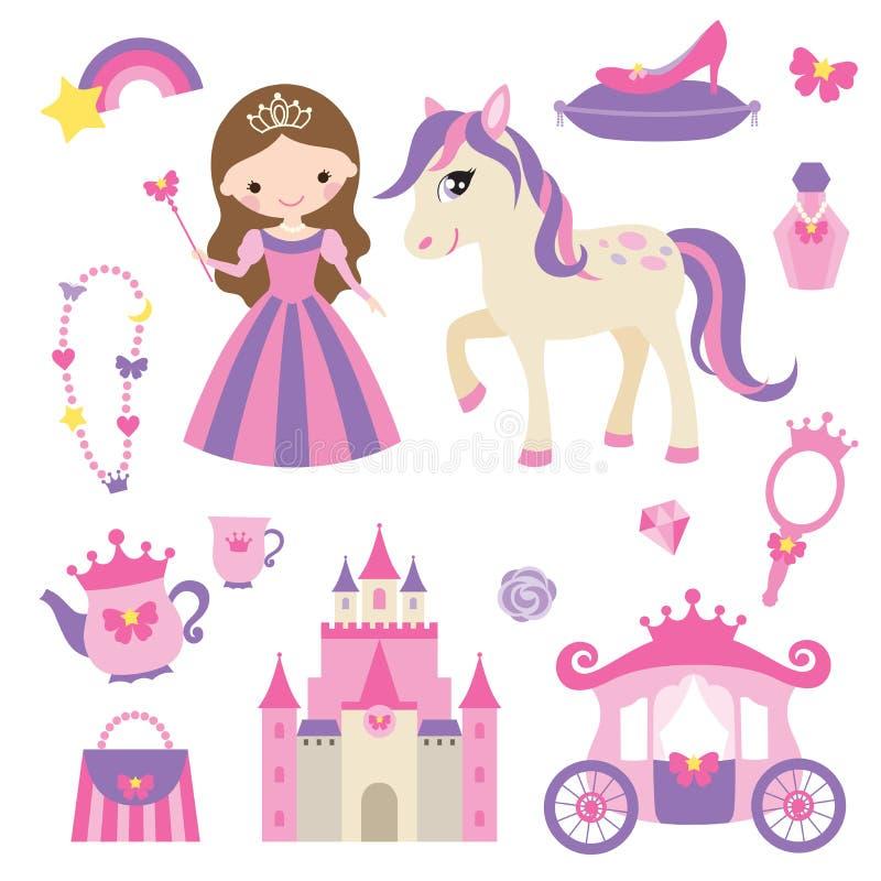 Princesse, poney et accessoires réglés illustration stock