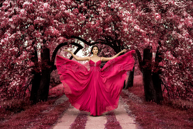 Princesse rose maléfique, femme sexy avec la belle robe photo stock