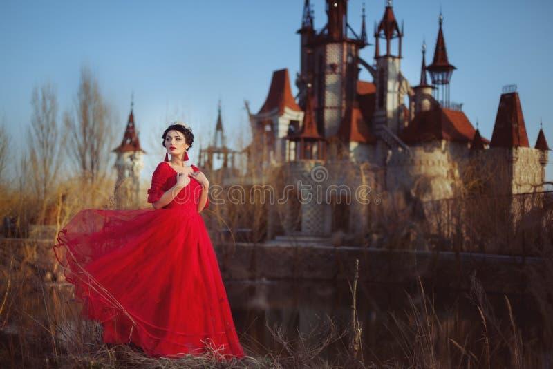 Princesse sur le fond du château photo libre de droits