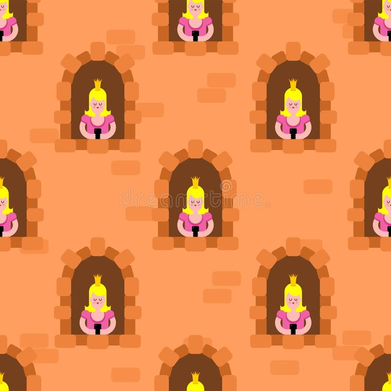 Free Princesses In Windowpattern Seamless. Castle Windows Background Cartoon Vector Texture Royalty Free Stock Image - 158457036