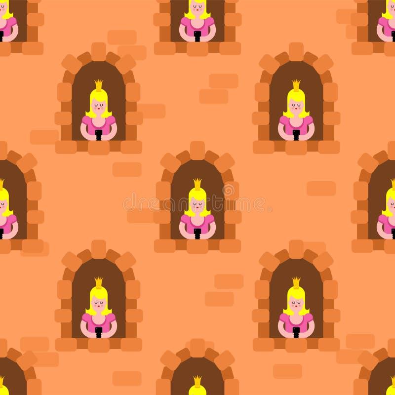 Princesses in windowpattern seamless. Castle windows background cartoon vector texture.  royalty free illustration