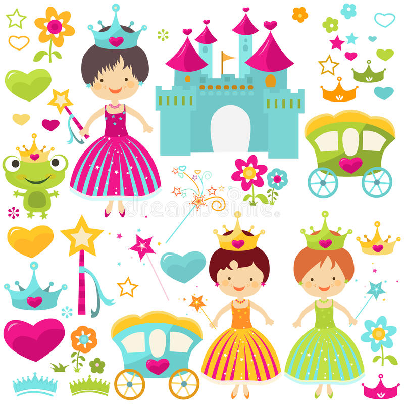 Princessuppsättning royaltyfri illustrationer