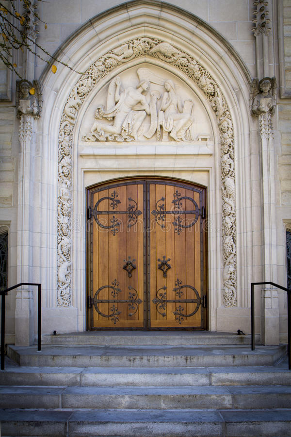 Beautiful Doors at Princeton University. The architectural detail is seen in these doors on a building at Princeton University stock photo