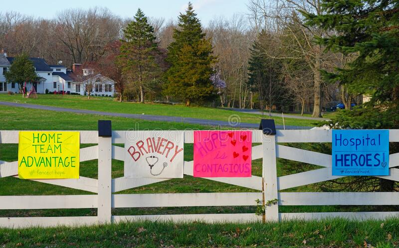 PRINCETON, NJ -7 APR 2020- View of the Fence of Hope with messages to healthcare workers during the COVID-19 pandemic. royalty free stock image