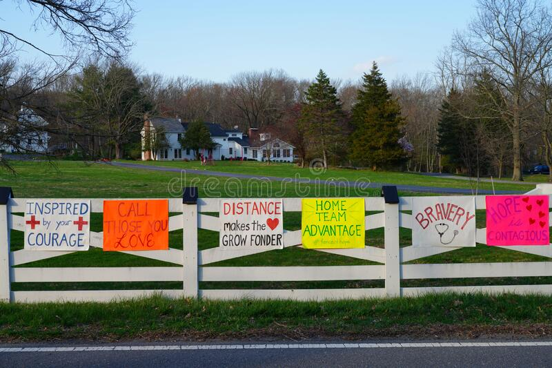 PRINCETON, NJ -7 APR 2020- View of the Fence of Hope with messages to healthcare workers during the COVID-19 pandemic. royalty free stock photography