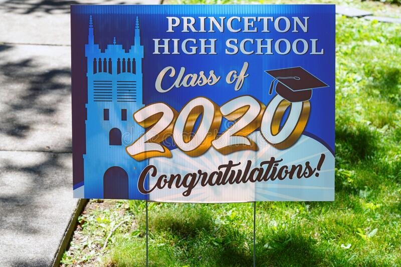 View of a lawn sign saying Princeton High School Class of 2020 Congratulations during the COVID-19 stock photos