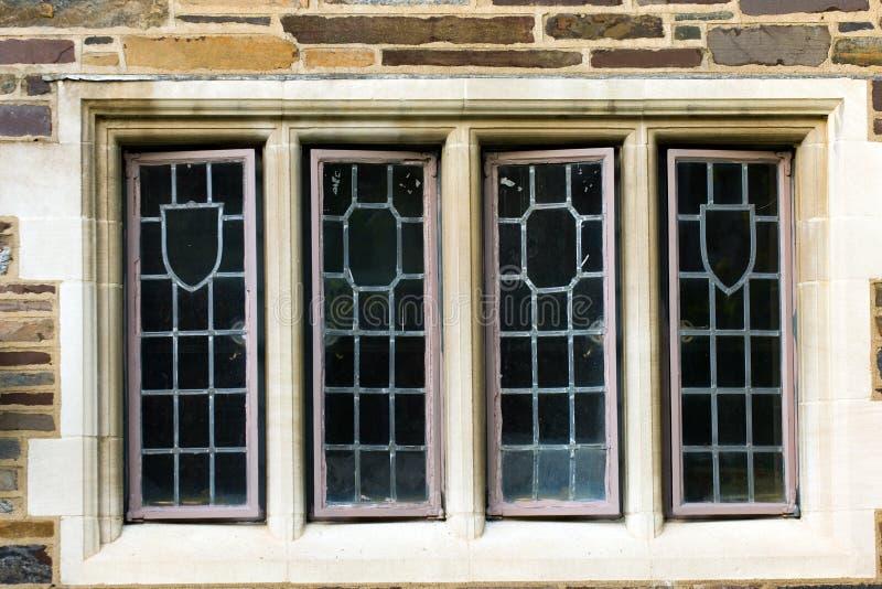 Princeton University. Windows of old university campus building, Princeton, New Jersey stock photos