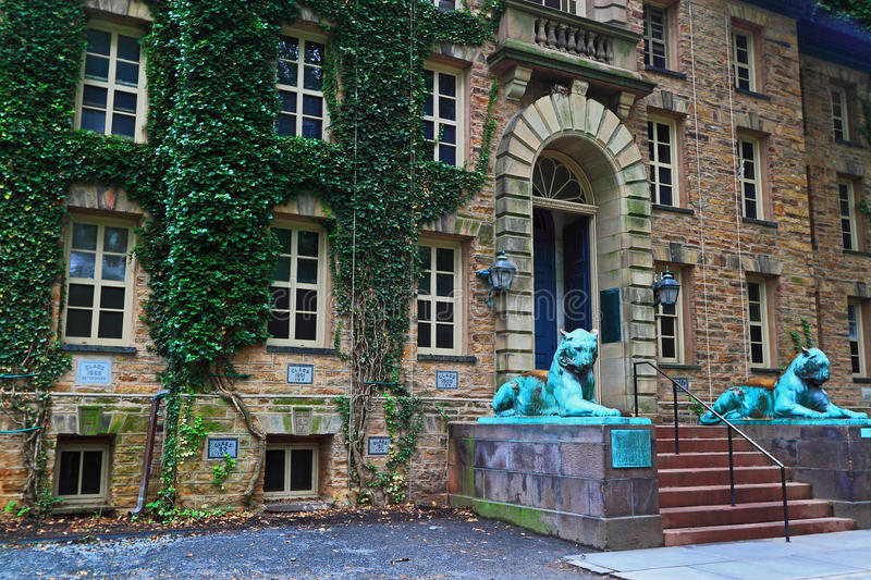 Princeton University. Old Nassau Hall, the oldest building with ivy leave covered walls at Princeton University in Princeton, Mercer County, New Jersey, United stock image