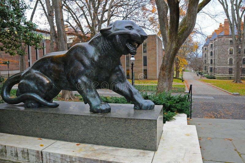 The Princeton University`s iconic tiger statues. Princeton University is a Private Ivy League University in New Jersey, USA. PRINCETON, NJ -15 NOVEMBER 2011: the stock photography