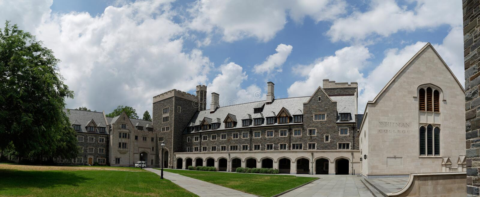 Princeton University, USA. Princeton University Campus, neogothic style buildings constructed of limestone. New Jersey, USA royalty free stock image