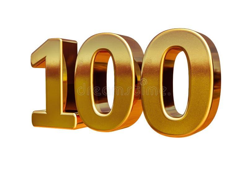 Principal 100 de signe d'anniversaire de l'or 3d 100th illustration libre de droits