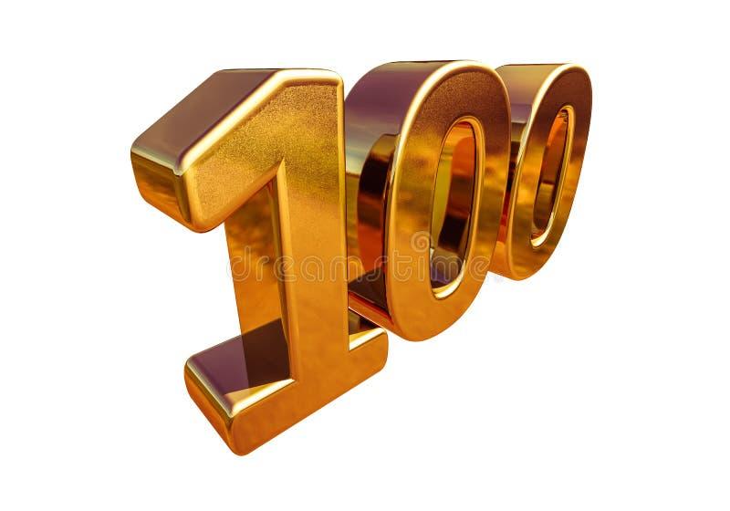Principal 100 de signe d'anniversaire de l'or 3d 100th illustration stock