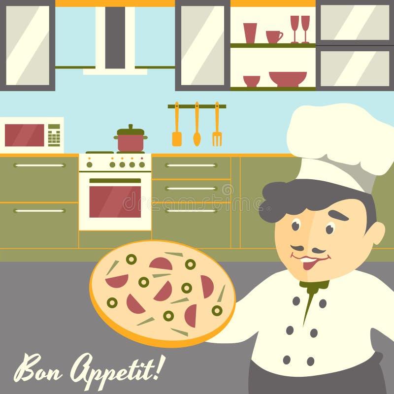 Principal Ejemplo Del Cocinero De La Pizza Con El Fondo Del Interior ...