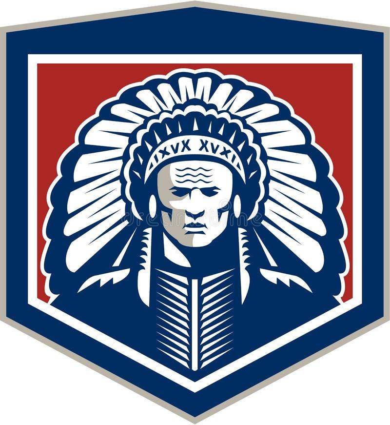 Principal escudo del nativo americano retro libre illustration