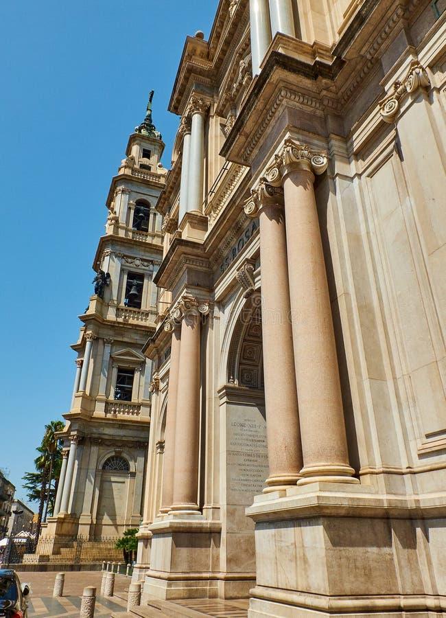 Principal facade of Santuario della Beata Vergine del Rosario. Pompei. Principal facade and bell tower of Santuario della Beata Vergine del Rosario & x28 royalty free stock images