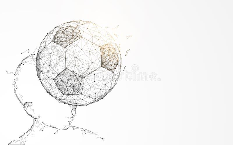Principal golpeando el balón de fútbol de las líneas y de los triángulos, conexión del punto libre illustration