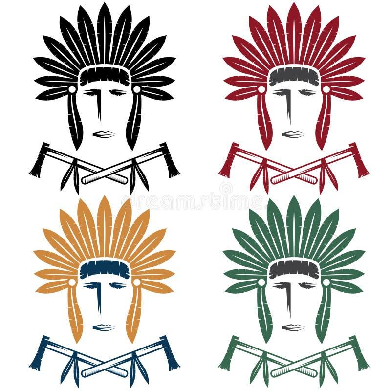 Principal hombre del nativo americano en tocado tribal con tomaha libre illustration