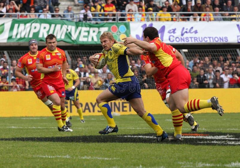 Principal l'allumette USAP du rugby 14 contre l'ASM Clermont photographie stock libre de droits