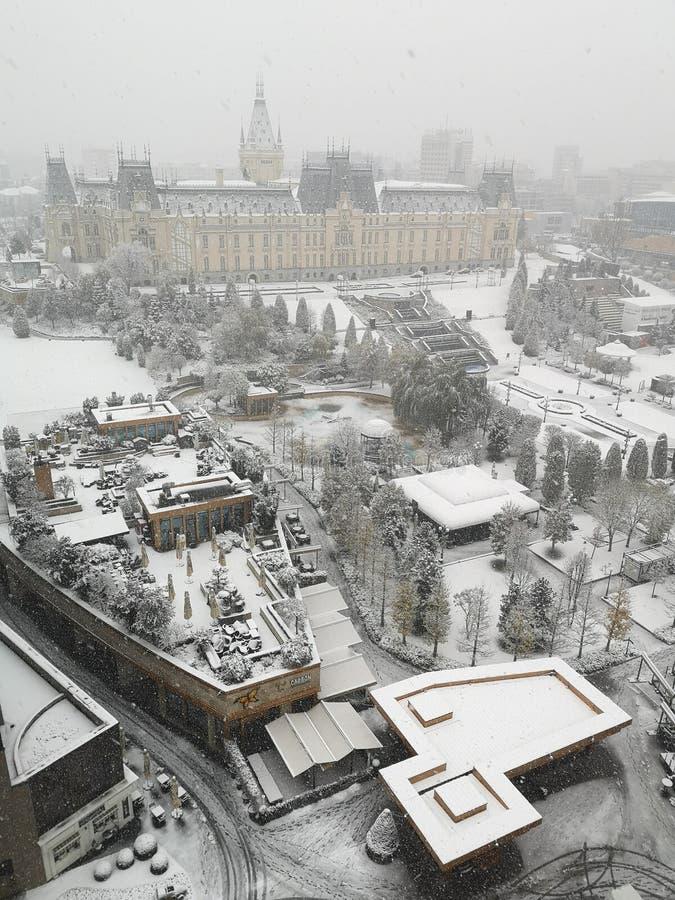 Landmarks of Iasi city in winter season. royalty free stock photography