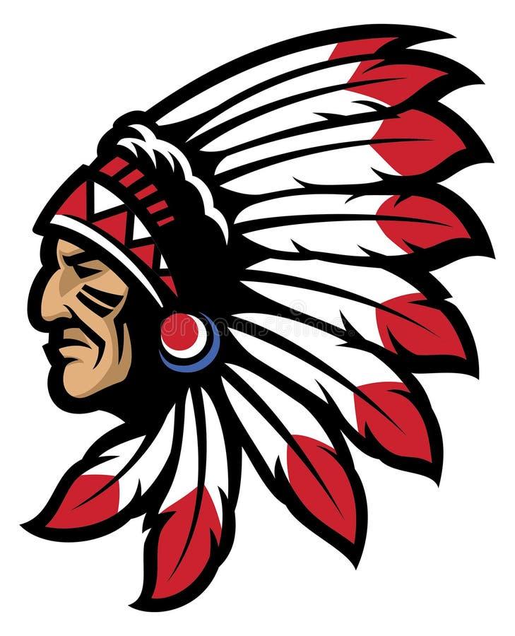 Principal mascota principal nativa americana ilustración del vector
