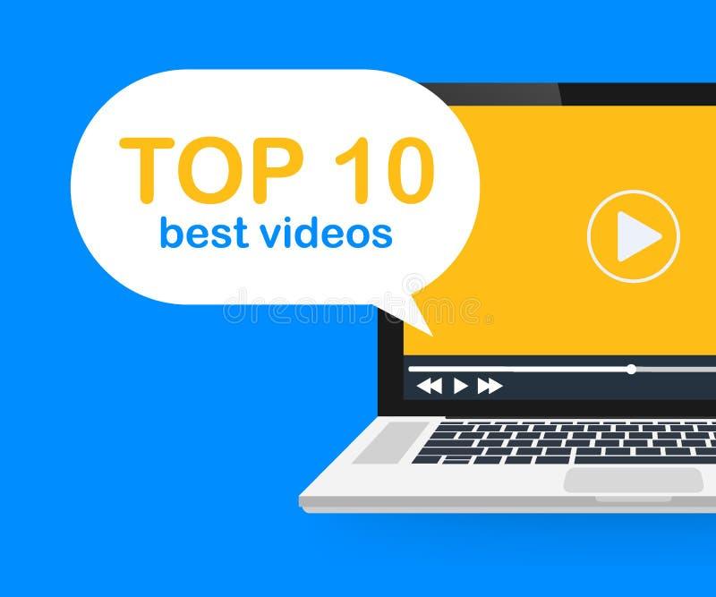 Principal 10 Meilleure étiquette visuelle simple de bannière Clic par le taux, concurrence de concept de fabricant de médias Illu illustration libre de droits