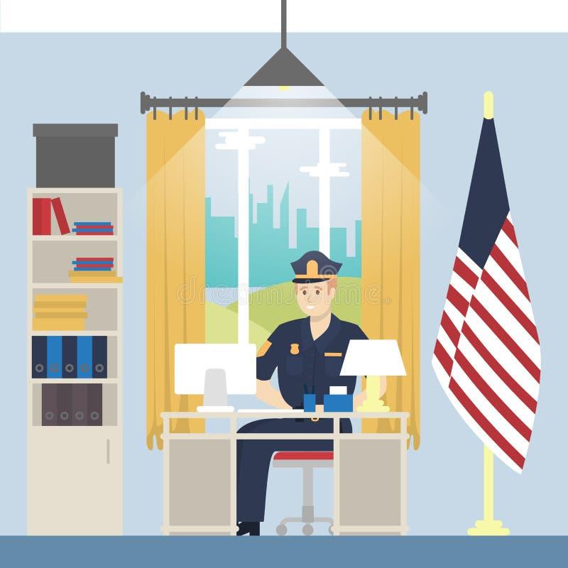 Principal oficina de policía ilustración del vector