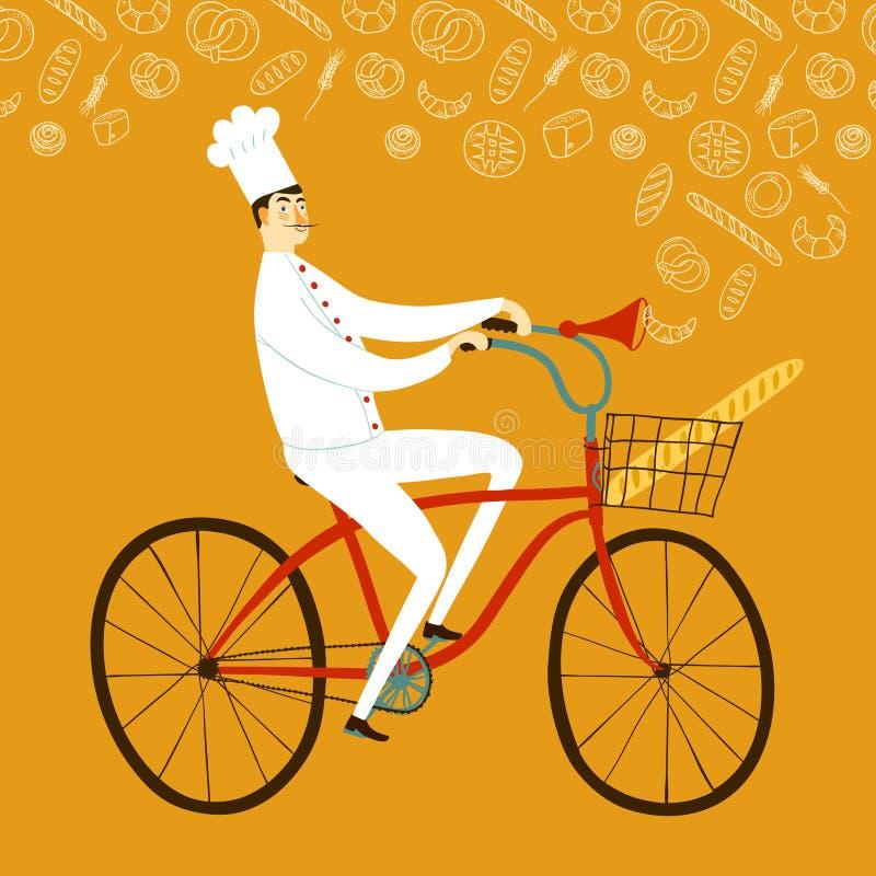 Principal panadero de la historieta con el baguette en la bicicleta stock de ilustración