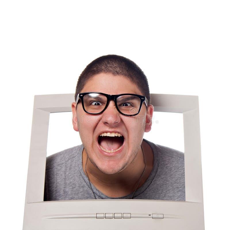 Principal saindo de um computador imagens de stock