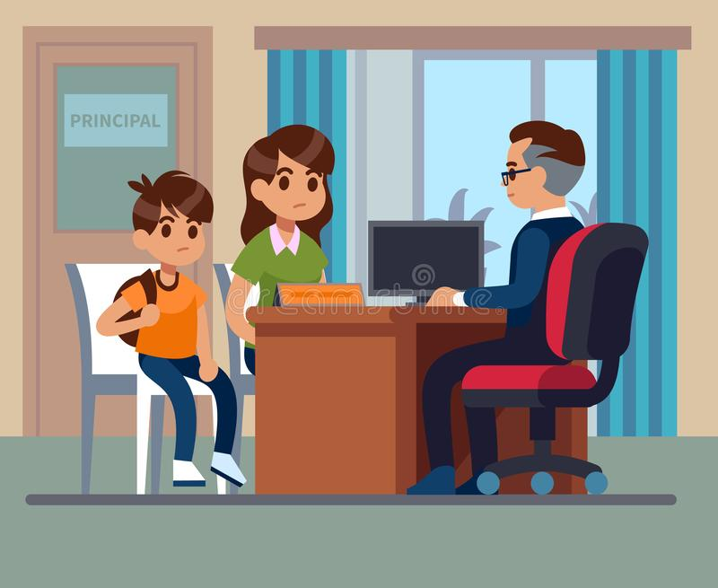 Principal school. Parents kids teacher meeting in office. Unhappy mom, son talk with angry principal. School education vector illustration