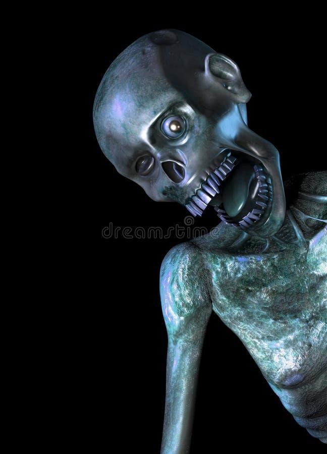 Principal y hombros del zombi stock de ilustración