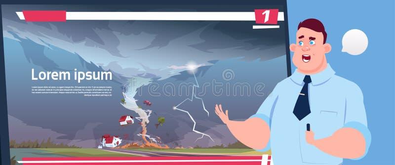 Principale émission de TV vivante d'homme au sujet des actualités de destruction de dommages d'ouragan de ferme de tornade de tro illustration stock