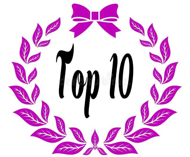 PRINCIPALE 10 con il nastro e l'arco rosa degli allori royalty illustrazione gratis