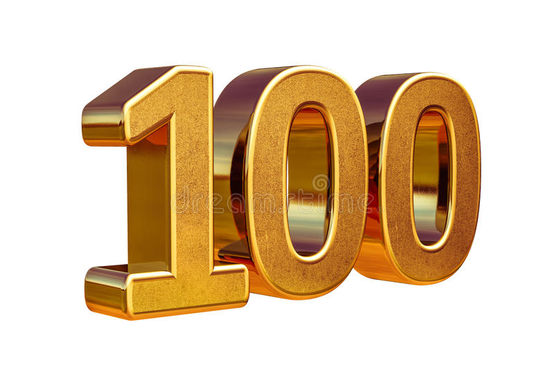 Principale 100 del segno di anniversario dell'oro 3d 100th illustrazione di stock