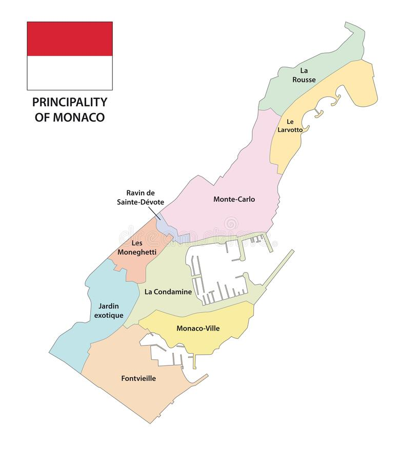 Principality of Monaco administrative and political map royalty free illustration