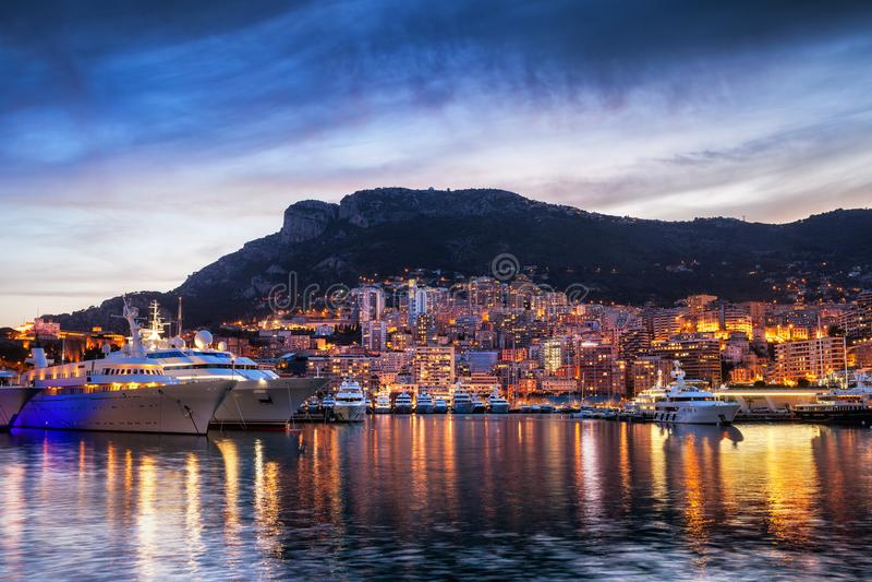 Principality of Monaco Evening Skyline royalty free stock photo