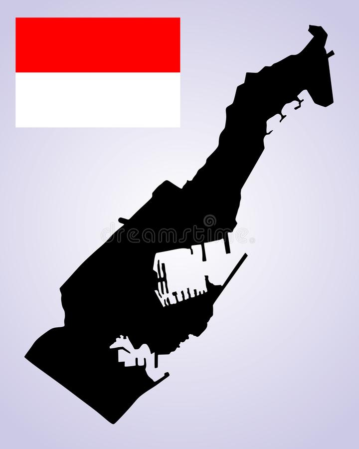 Principality of Monaco map silhouette and flag. vector illustration