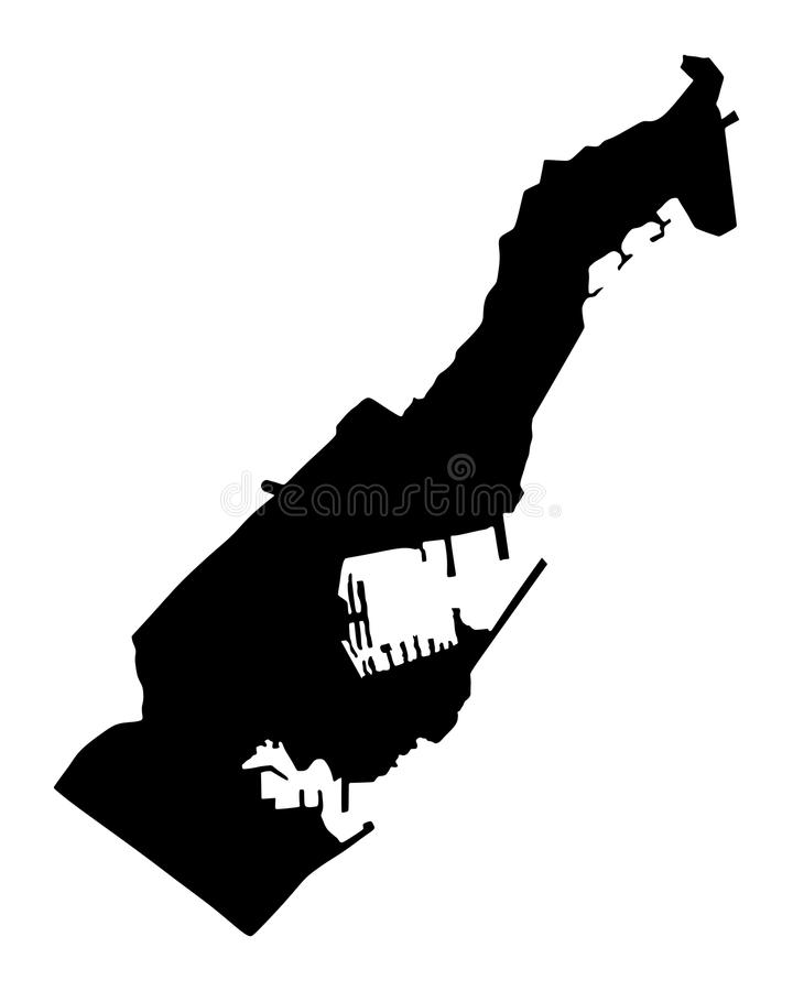 Principality of Monaco silhouette map. vector illustration