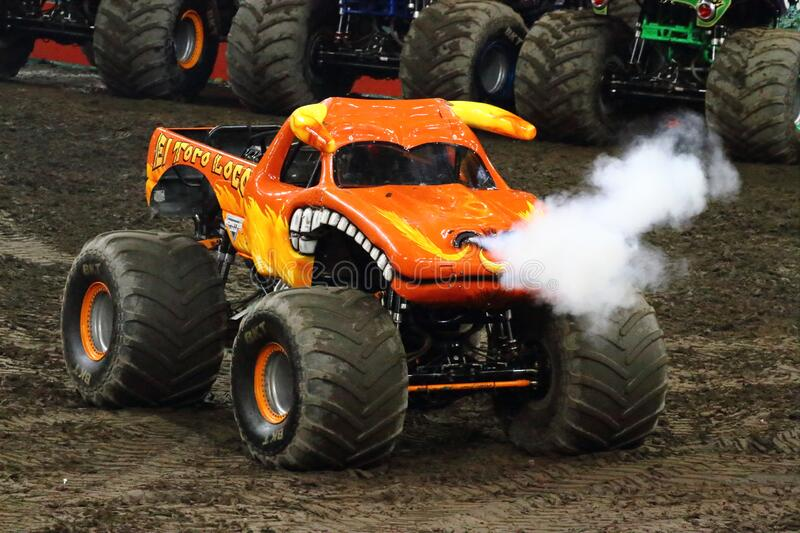 El Toro Loco Monster truck. PRINCIPALITY STADIUM CARDIFF WALES September 3 2016 El Toro Loco monster truck letting off steam during the Monster Jam tour stock photo