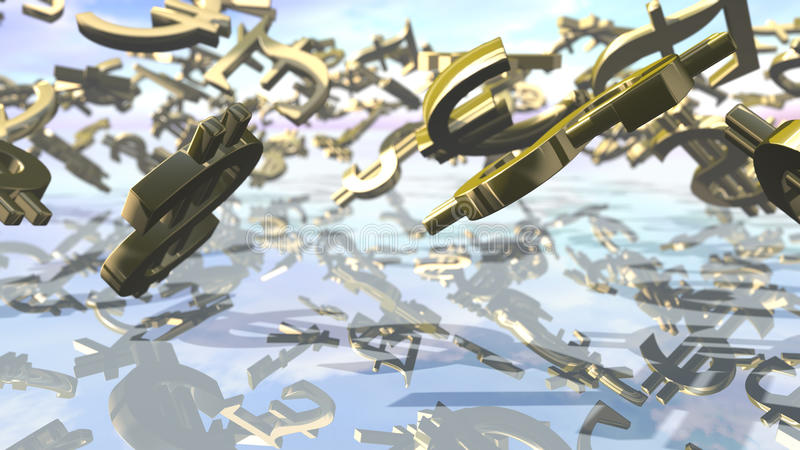 Principaux signes brillants d'argent tombant vers le bas rendu 3d illustration libre de droits