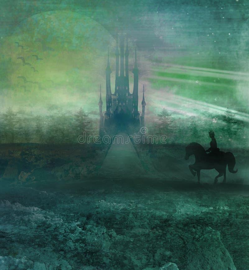 Principe che monta un cavallo al castello royalty illustrazione gratis