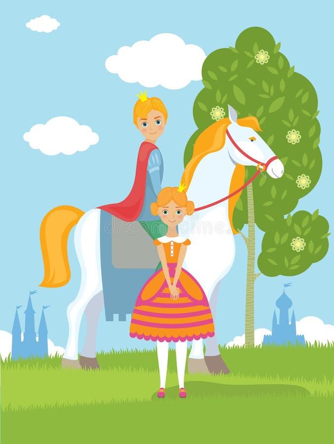 Principe e principessa leggiadramente illustrazione di stock