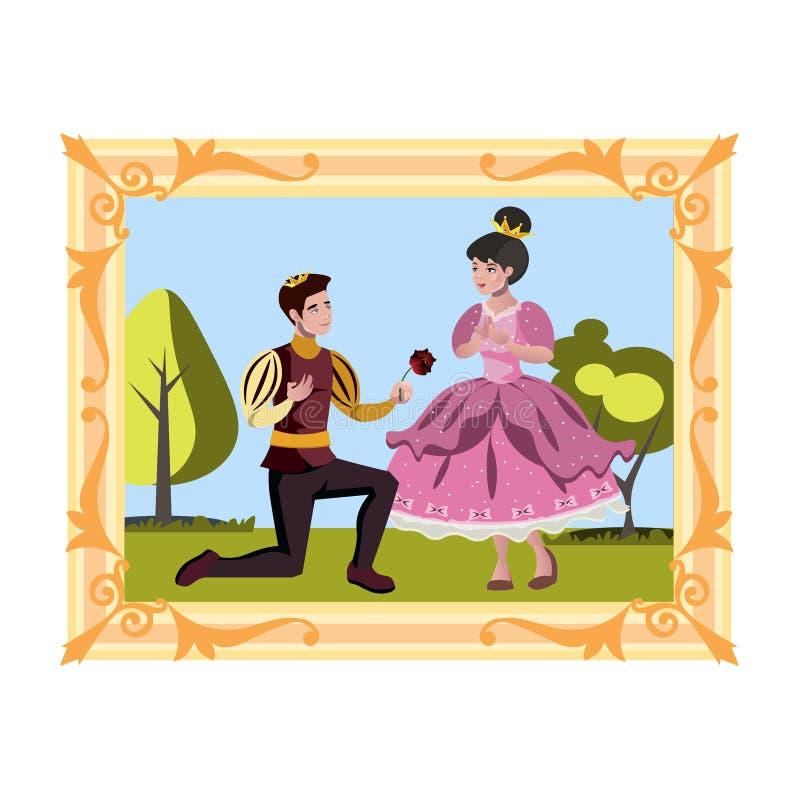 Principe e principessa nell'immagine illustrazione vettoriale