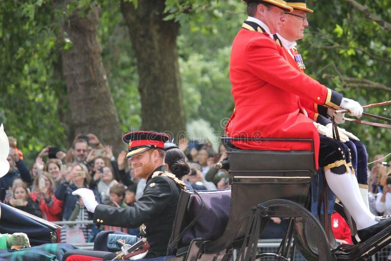 Principe Harry London il Regno Unito 8 giugno 2019 - Meghan Markle Prince Harry George William Charles Kate Middleton fotografia stock libera da diritti