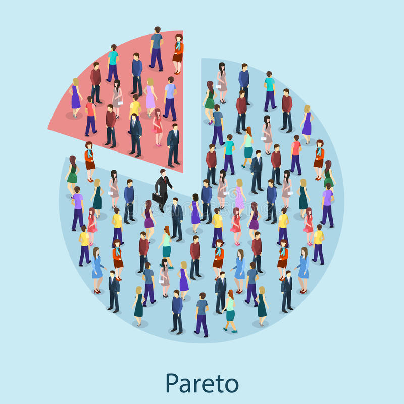 Principe plat isométrique de Pareto de concept d'isolement par 3D illustration de vecteur
