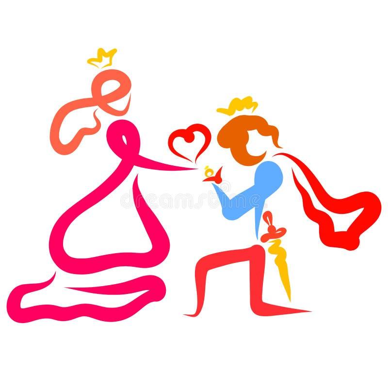 Principe romantico dà l'anello a principessa, inginocchiantesi royalty illustrazione gratis